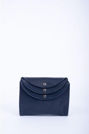 Sac pochette triple rabat bandoulière cuir-Bleu marine