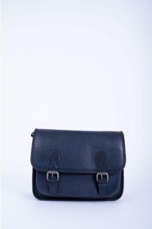 Sacoche cartable rabat cuir-Bleu marine