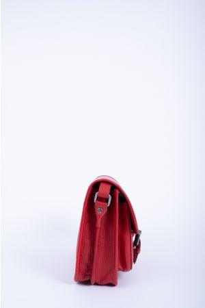 Sacoche cartable rabat cuir-Rouge