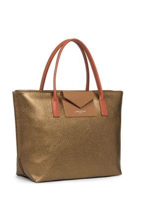 Sac cabas shopping Maya vinyle + cuir-Gold + Camel + Potimarron