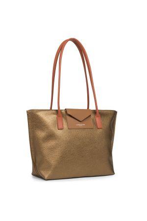Sac cabas shopping épaule Maya vinyle + cuir-Gold + Camel + Potimarron
