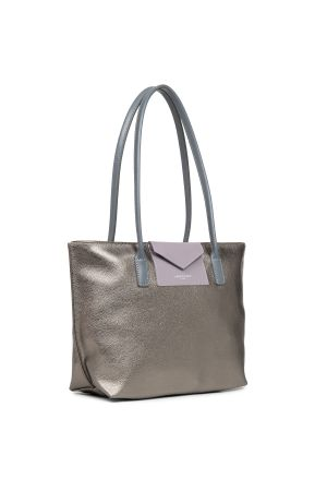 Sac cabas shopping épaule Maya vinyle + cuir-Étain + Mauve + Gris