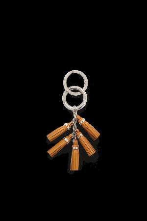 Porte-clés Mini Pompon cuir-Camel