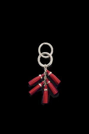 Porte-clés Mini Pompon cuir-Rouge
