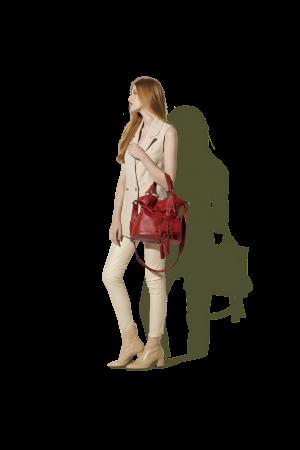 Sac seau Premier Flirt grand modèle cuir Lancel-Rouge